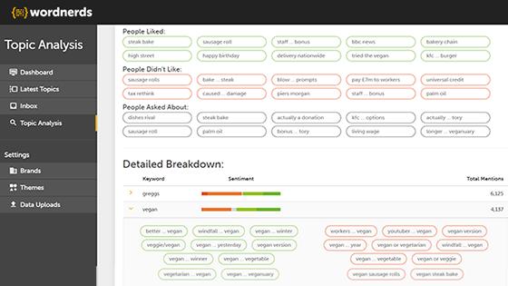 Topic analysis dashboard | Wordnerds
